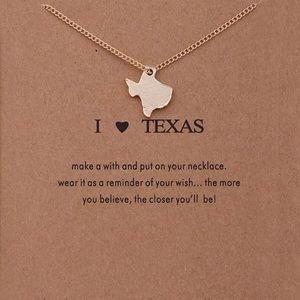 "Boho ""I ❤️ Texas"" Dainty Gold Necklace w/ Card"